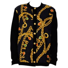Celine 1980's Signed Silk Printed Front Cardigan