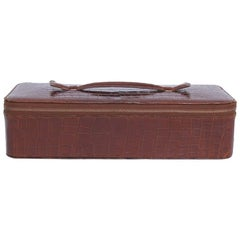 Vintage HERMES Jewelry Box in Brown Crocodile