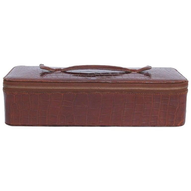 Vintage HERMES Jewelry Box in Brown Crocodile For Sale