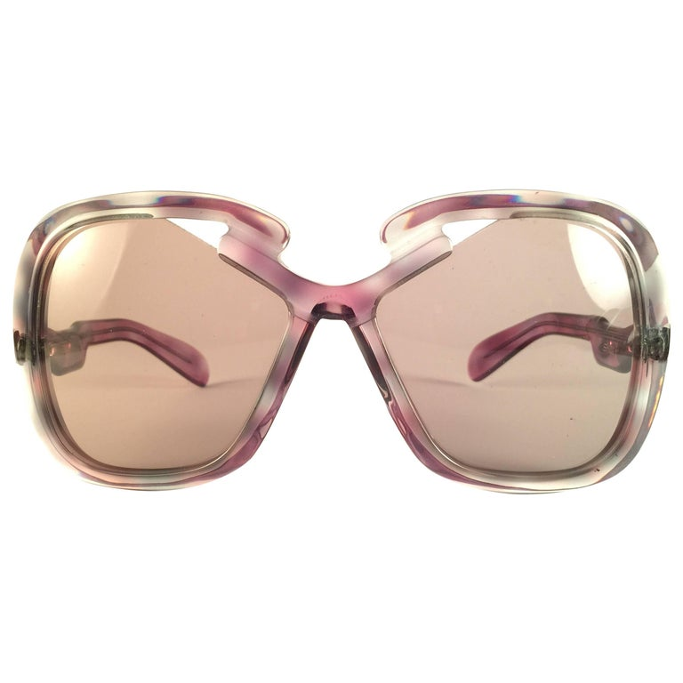 New Vintage Silhouette Clear Oversized Silver Funk Germany 1970 Sunglasses