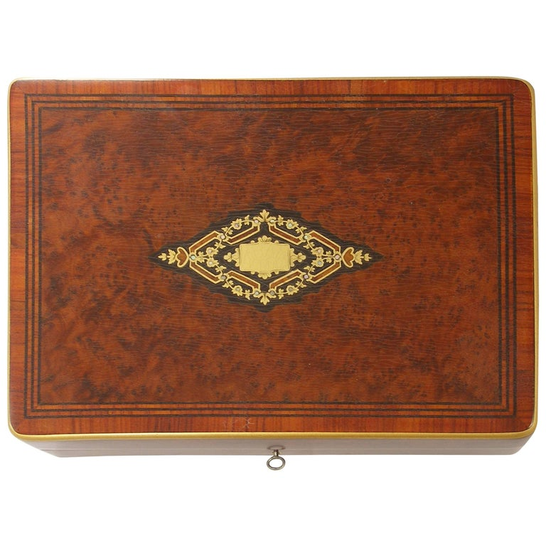 COLLECTIBLE RARE Secret Box Boulle Marqueterie Napoleon III / 19em Siecle