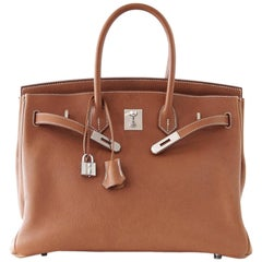 Hermes Birkin 35 Bag Very Rare Barenia Faubourg Palladium Ultimate Neutral