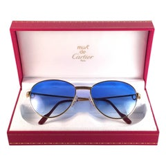Vintage Cartier Louis Diamonds 55mm Sunglasses Heavy Gold Plated 18k France