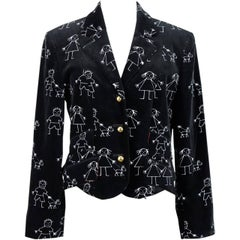 Moschino Cheap And Chic 1980s Stick Man Print Black Velvet Blazer Red Lining