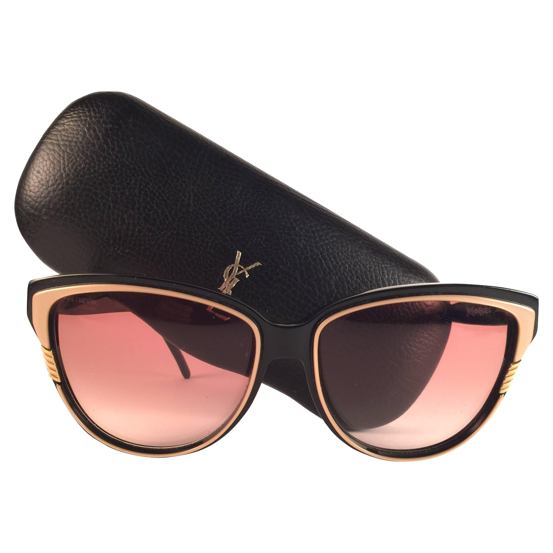 Vintage YSL Yves Saint Laurent Black & Beige Sunglasses 1980 Made in France