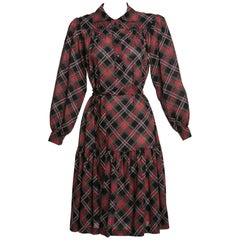 1970's Yves Saint Laurent YSL Vintage Lightweight Wool Plaid Dress