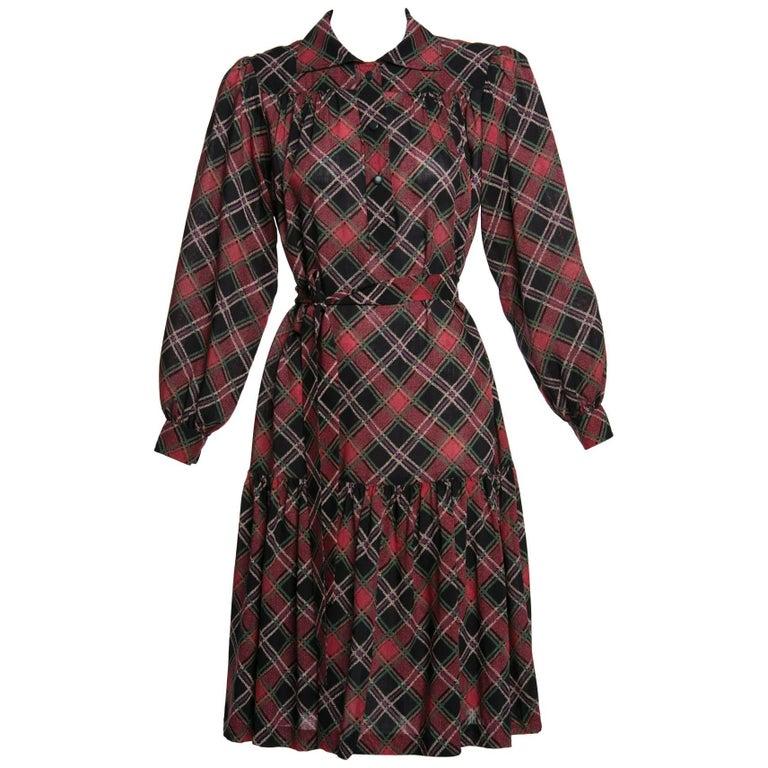 53b0c140af7d 1970's Yves Saint Laurent YSL Vintage Lightweight Wool Plaid Dress For Sale