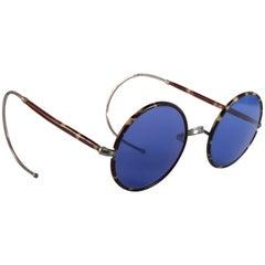 Rare Vintage Tortoise Round Spectacles Blue Lenses 1940's Sunglasses