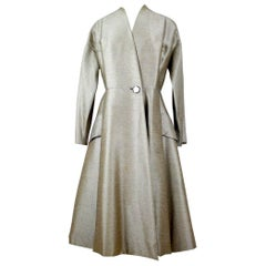 Early 1950s Elégance Parisienne Taupe Wool Princess Coat