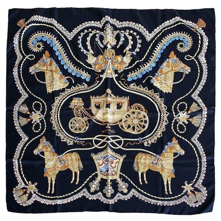 Hermes Scarf Print Silk Paperoles Black Gold Blue Vintage
