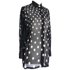 Gianni Versace Couture Top Black and White Polka Dot Lace Back  38 / 4