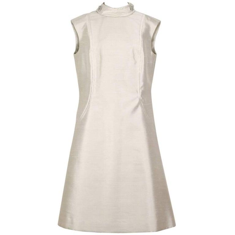 Uli Richter Cream Raw Silk Shift Dress With Beaded Button Detailing ...