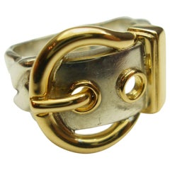 Vintage Hermès Diane Silver 925 and gold 18k Ring  / Good Condition