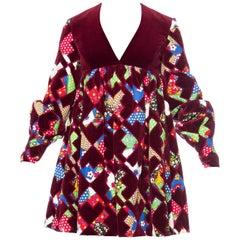 1960s Gayle Kirkpatrick velvet patchwork dress