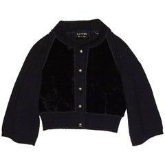 Lanvin Black Wool & Shearling Sweater Sz IT40