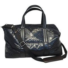 NWOT Maison Margiela Navy Blue Vinyl and Leather Duffle Bag Tote