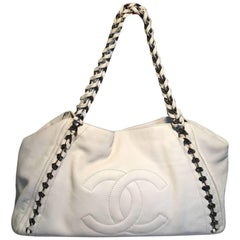 Chanel White Leather Chain Trim Shoulder Bag Tote