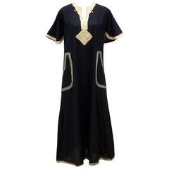 Vintage Exotic Black Caftan Lounger Dress