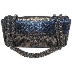 Chanel Silver Paillette Sequin Classic Flap Shoulder Bag