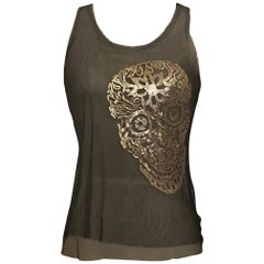 Alexander McQueen Gold Sequin Skull on Black Mesh Top