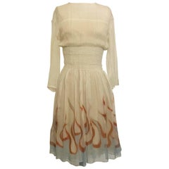 Prada Runway Flame Dress in Cream Silk Chiffon, 2012