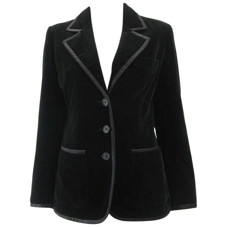 Yves Saint Laurent Rive Gauche Black Velvet Blazer