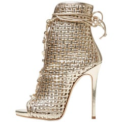 Giuseppe Zanotti New Gold Basketweave Ankle Booties Boots W/Box