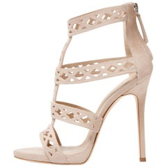 Giuseppe Zanotti New Sold Out Nude Suede Cut Out Evening Sandals Heels in Box
