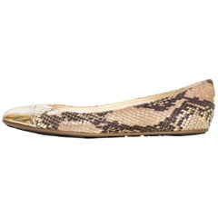 Jimmy Choo Tan Snakeskin Whirl Flats Sz 39 NEW