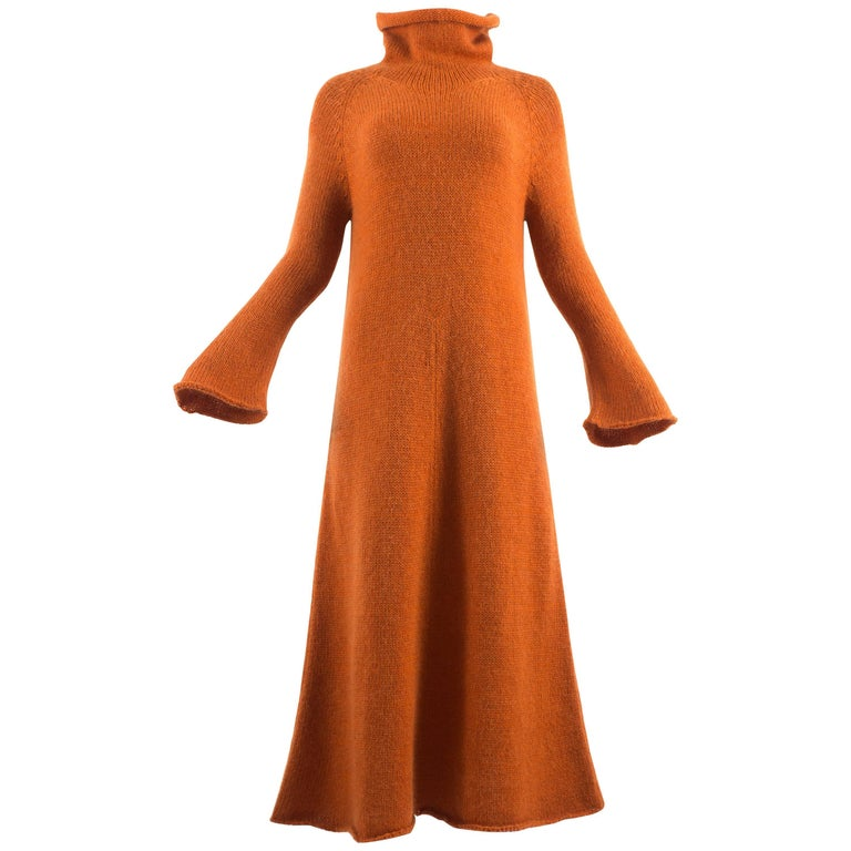 Yohji Yamamoto Autumn-Winter 1998 orange knitted maxi dress