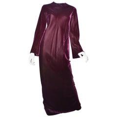 1970s Halston Burgundy Velvet Gown