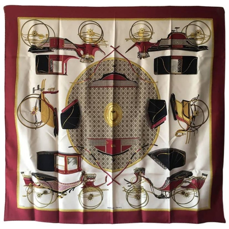 Hermes Vintage Les Voitures a Transformation Silk Scarf in Red c1960s
