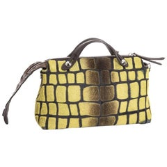 FENDI Bag in Yellow Foal Leather and Brown Crocodile Leather