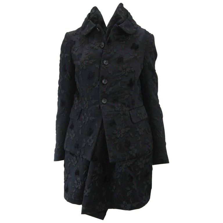 Comme des Garcons Black Layered Brocade Coat
