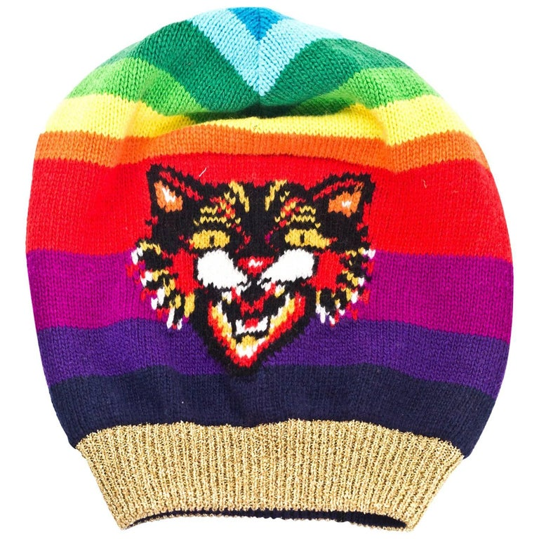 Gucci 2017 Rainbow Tiger Beanie Hat NWT rt. $680