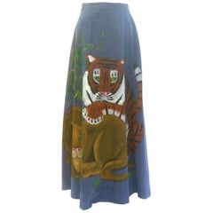 Incredible Hand Painted Big Cat Denim Maxi Skirt by Mimosa Tree. 1970's.