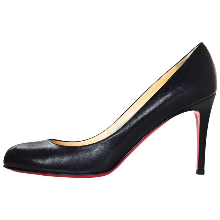 3ba7c3974ce Christian Louboutin Black Leather Simple Pump 85 Kid Sz 40.5 NIB