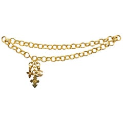 Chanel Vintage '90s Gold Charm Chainlink Belt/Necklace Sz S
