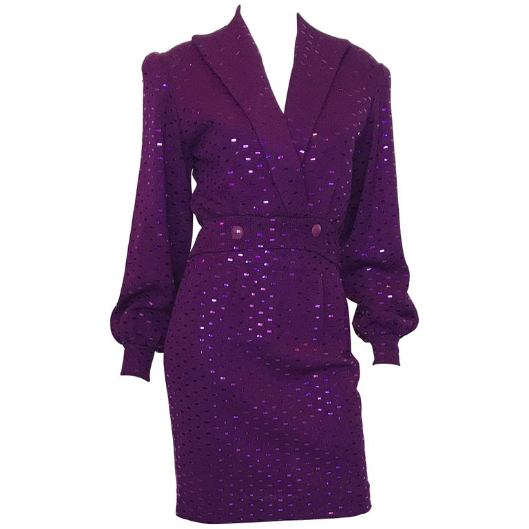 1980s St. John Purple Knit Sequin 2 Pc Skirt Set