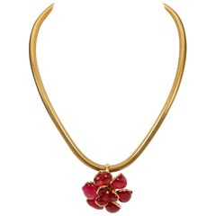 Chanel Berry Gripoix Camellia Choker Necklace