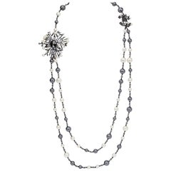 Chanel Double Strand White Grey Pearl CC Chain Necklace