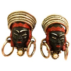 Vintage Asian Princess Blackamoor Earrings
