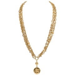 1970's Vintage Chanel Rare Multi-strand Crystal Gold Necklace