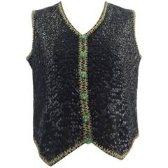 1960s Lovely – Made in Hong Kong black sequinned Trompe L'Oeil  Tank Top
