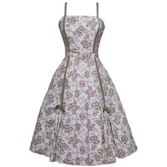 Vintage 1950s Floral Print Cotton Suit Dress with Bolero 3 pc