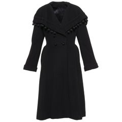 Vintage 1940s Black Wool New Look Princess Coat