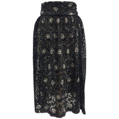 Rare 1980s Maria di Sant'Elena – Firenze, Black Lace and Sequined Gathered Skirt