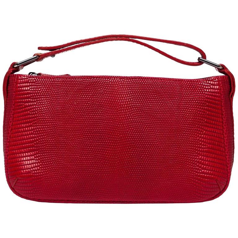 Lynn Baguette Red Lizard Leather Handbag