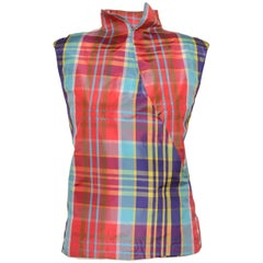 1990s GIANFRANCO FERRE' Tartan and White Taffeta Minimal Vest