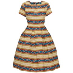 1950s Italian Couture Tapestry Print Cotton Dress